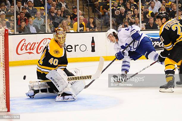 Tyler Bozak of the Toronto Maple Leafs scores a goal against Tuukka Rask of the Boston Bruins in Game Five of the Eastern Conference Quarterfinals...