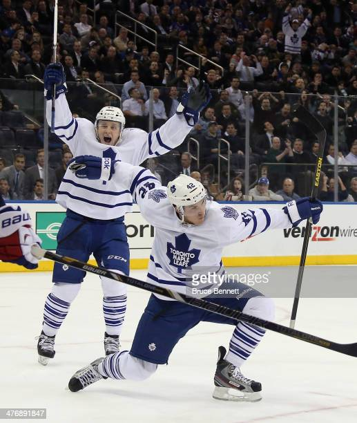 Tyler Bozak of the Toronto Maple Leafs scores at 1:51 of overtime to defeat the New York Rangers 3-2 at Madison Square Garden on March 5, 2014 in New...