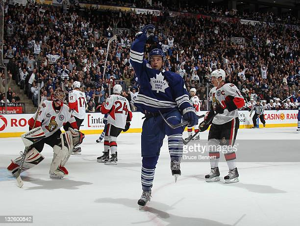 Tyler Bozak of the Toronto Maple Leafs scores at 17:18 of the first period against the Ottawa Senators at the Air Canada Centre on November 12, 2011...