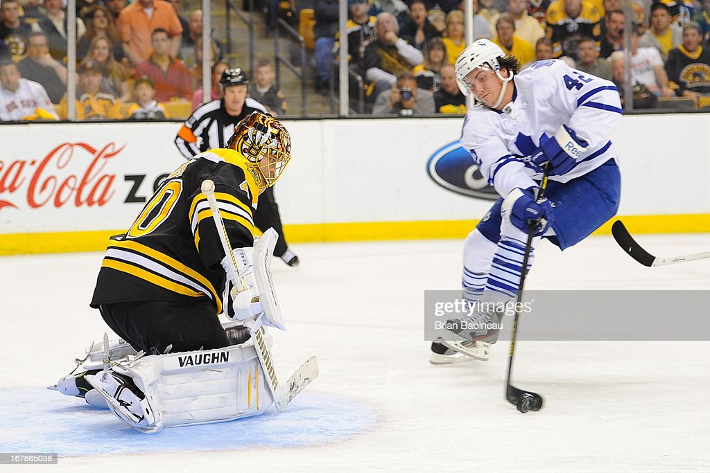 Tyler Bozak #42 of the Toronto Maple Leafs with the puck against Tuukka Rask #40 of the Boston Bruins in Game One of the Eastern Conference Quarterfinals during the 2013 NHL Stanley Cup Playoffs at TD Garden on May 1, 2013 in Boston, Massachusetts.