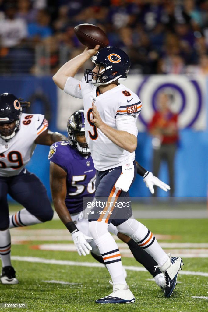 Tyler Bray #9 of the Chicago Bears throws a pass in the third quarter of the Hall of Fame Game against the Baltimore Ravens at Tom Benson Hall of Fame Stadium on August 2, 2018 in Canton, Ohio.