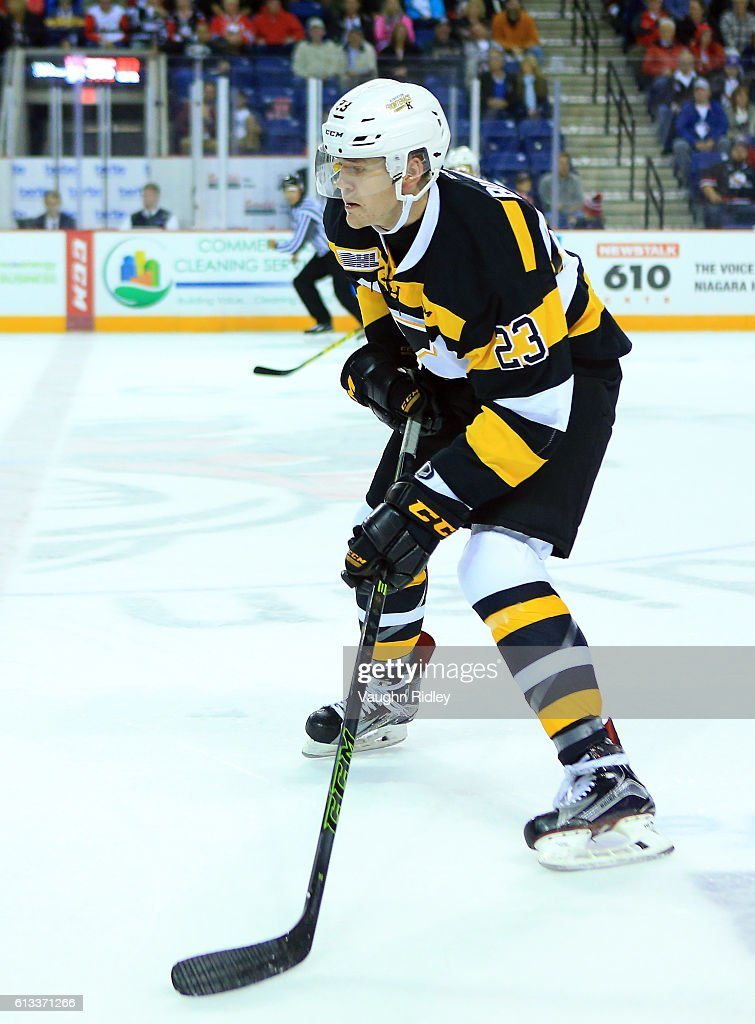 Tyler Burnie #23 of the Kingston Frontenacs skates during an OHL game against the Niagara IceDogs at the Meridian Centre on September 30, 2016 in St Catharines, Ontario, Canada.