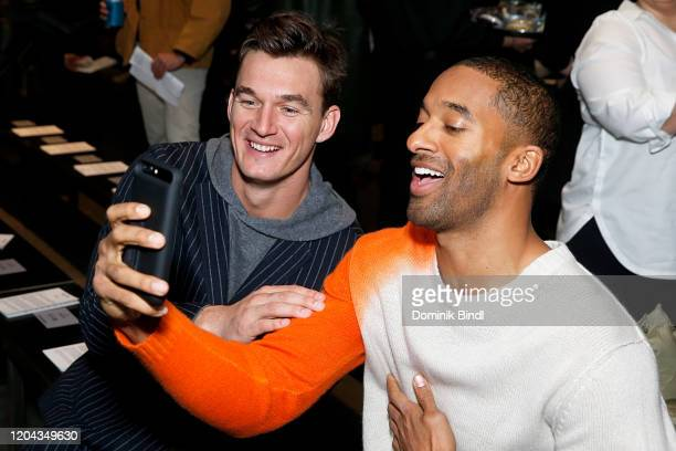 Tyler Cameron and Matt James attend the Todd Snyder show during New York Fashion Week Men's at Pier 59 Studios on February 05 2020 in New York City