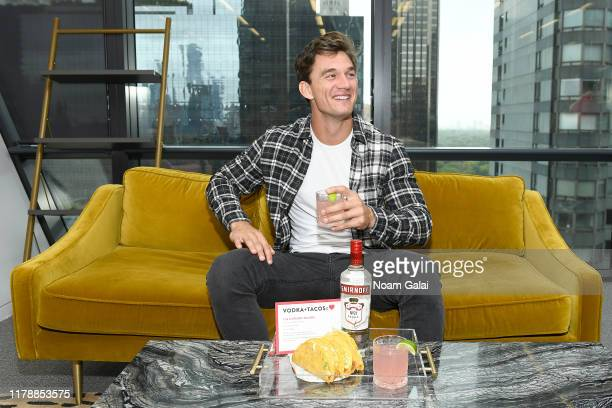 Tyler Cameron celebrates National Vodka Day AND National Taco Day both taking place on 10/4 with a Smirnoff Paloma in New York City