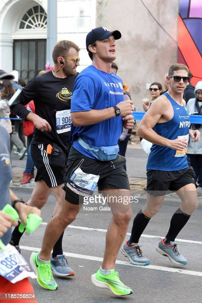 Tyler Cameron is seen running at Mile 8 during the 2019 TCS New York City Marathon on November 03 2019 in New York City