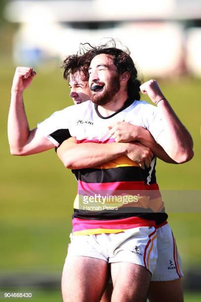 Tyler Campbell and Jordan Bunce of Waikato celebrate after winning the Bayleys National Sevens Men's Cup Final match between Waikato and Tasman at...
