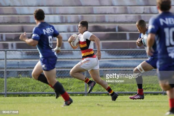 Tyler Campbell during the Bayleys National Sevens match between Waikato and Tasman at Rotorua International Stadium on January 14 2018 in Rotorua New...
