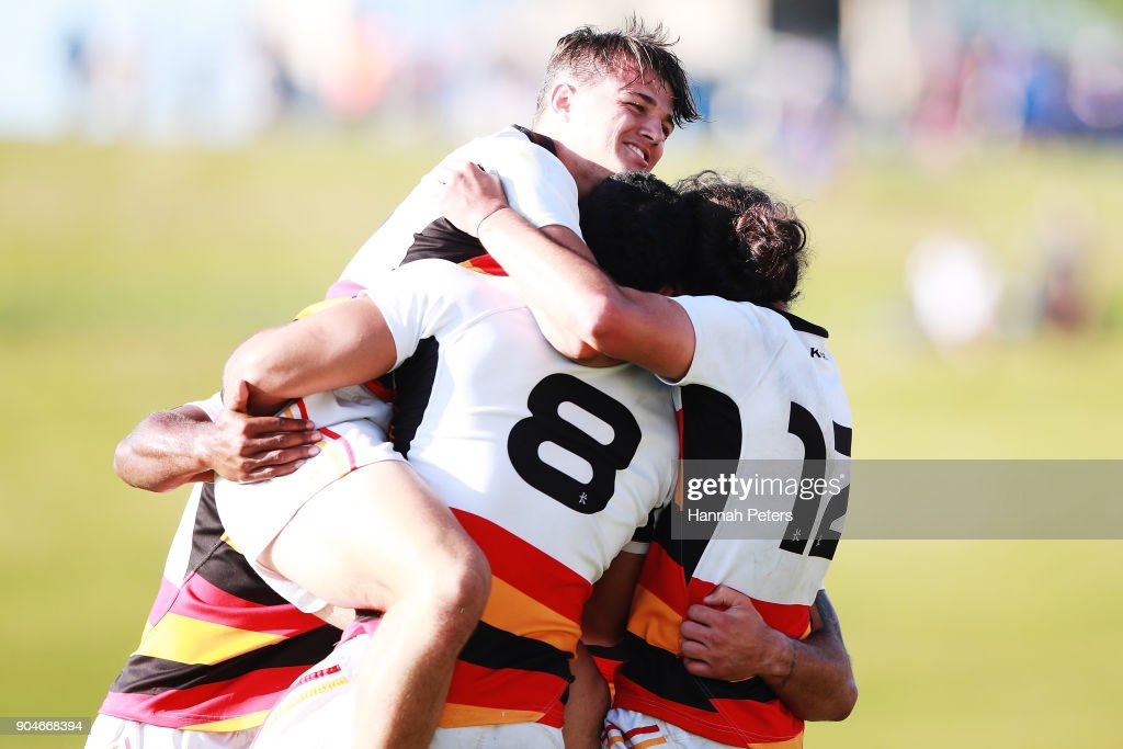 Tyler Campbell of Waikato celebrates with the team after winning the Bayleys National Sevens Men's Cup Final match between Waikato and Tasman at Rotorua International Stadium on January 14, 2018 in Rotorua, New Zealand.
