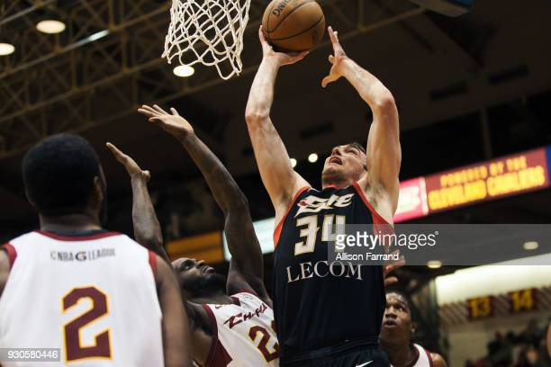 Tyler Cavanaugh of the Erie BayHawks dunks against the Canton Charge on March 11 2018 at Canton Memorial Civic Center in Canton Ohio NOTE TO USER...