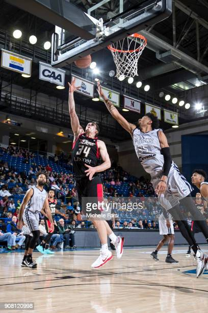 Tyler Cavanaugh of the Erie BayHawks shoots against the Delaware 87ers during an NBA GLeague game on January 20 2018 at the Bob Carpenter Center...