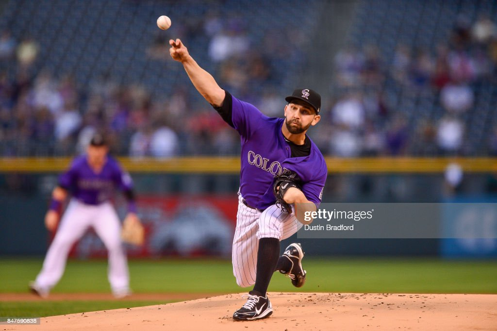 Tyler Chatwood #32 of the Colorado Rockies pitches against the Colorado Rockies in the first inning of a game against the San Diego Padres at Coors Field on September 15, 2017 in Denver, Colorado.