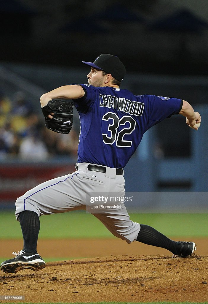 Tyler Chatwood #32 of the Colorado Rockies pitches against the Los Angeles Dodgers at Dodger Stadium on April 29, 2013 in Los Angeles, California.
