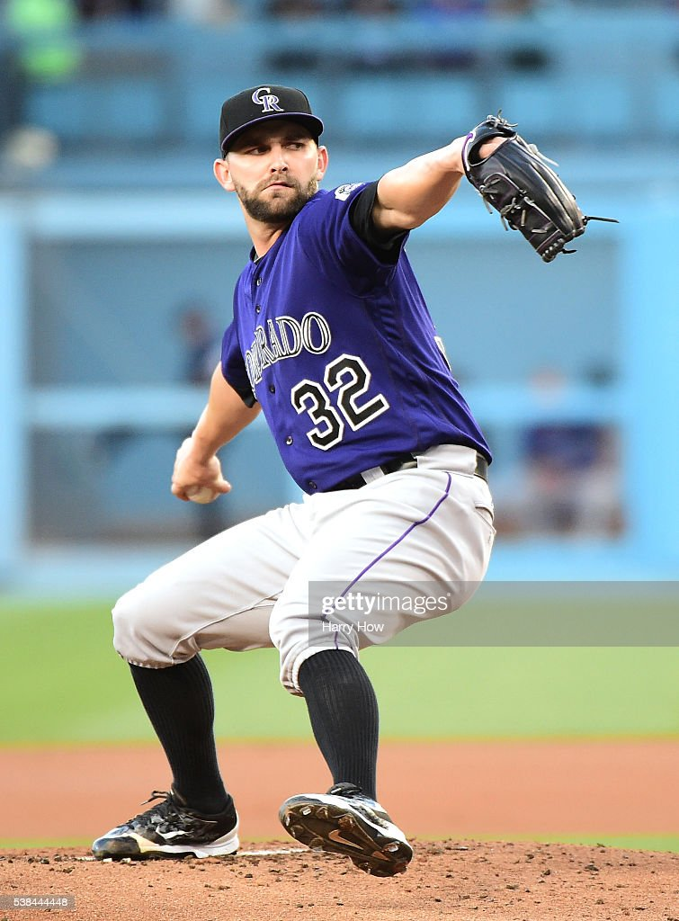 Tyler Chatwood #32 of the Colorado Rockies pitches during the first inning against the Los Angeles Dodgers at Dodger Stadium on June 6, 2016 in Los Angeles, California.