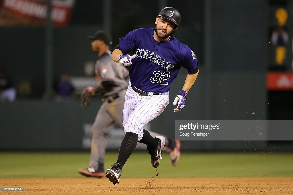 Tyler Chatwood #32 of the Colorado Rockies rounds the bases against the Arizona Diamondbacks at Coors Field on May 09, 2016 in Denver, Colorado. The Diamondbacks defeated the Rockies 10-5.
