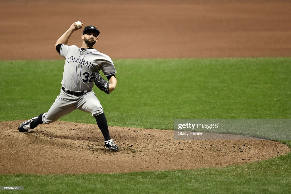 Tyler Chatwood #32 of the Colorado Rockies throws a pitch during the fourth inning of a game against the Milwaukee Brewers at Miller Park on April 5, 2017 in Milwaukee, Wisconsin.