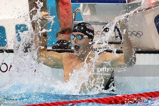 Tyler Clary of the United States celebrates after winning the gold in the Men's 200m Backstroke final on Day 6 of the London 2012 Olympic Games at...