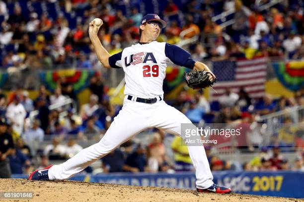 Tyler Clippard of Team USA pitches during Game 2 Pool C of the 2017 World Baseball Classic against Team Colombia on Friday March 10 2017 at Marlins...