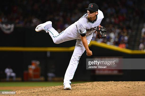 Tyler Clippard of the Arizona Diamondbacks delivers a pitch during the seventh inning against the Chicago Cubs at Chase Field on April 8 2016 in...