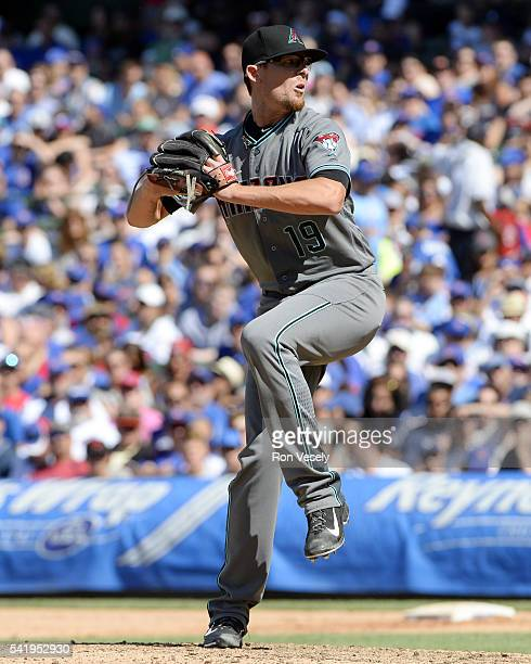 Tyler Clippard of the Arizona Diamondbacks pitches during the game against the Chicago Cubs at Wrigley Field on Sunday June 5 2016 in Chicago Illinois