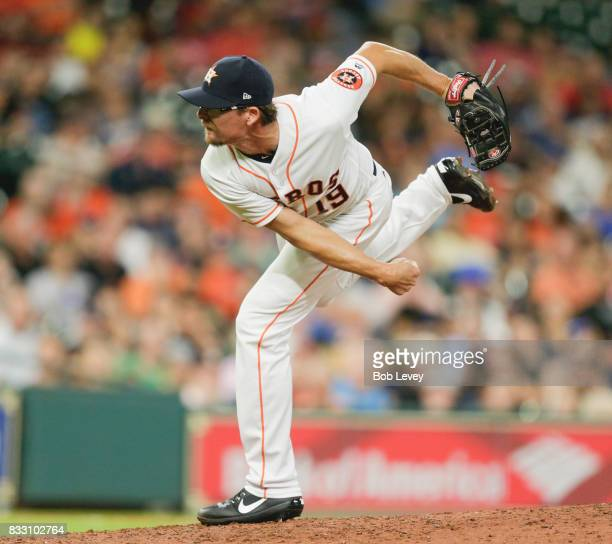 Tyler Clippard of the Houston Astros pitches in the seventh inning against the Arizona Diamondbacks at Minute Maid Park on August 16 2017 in Houston...