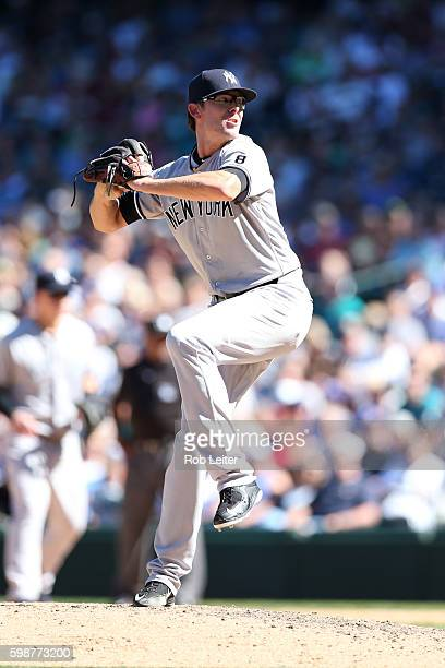 Tyler Clippard of the New York Yankees pitches during the game against the Seattle Mariners at Safeco Field on August 24 2016 in Seattle Washington...