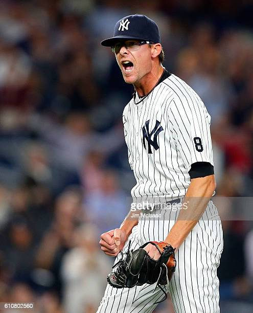 Tyler Clippard of the New York Yankees reacts after defeating the Boston Red Sox at Yankee Stadium on September 27 2016 in the Bronx borough of New...