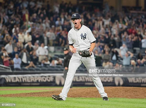 Tyler Clippard of the New York Yankees reacts after striking out David Ortiz of the Boston Red Sox to secure a 64 win on September 27 2016 at Yankee...