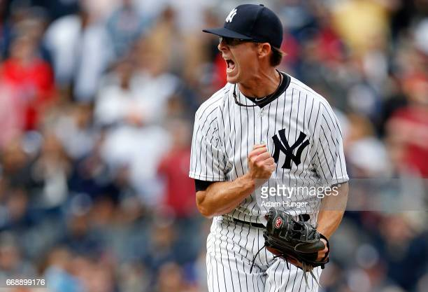 Tyler Clippard of the New York Yankees reacts after the final out against the St Louis Cardinals at Yankee Stadium on April 15 2017 in the Bronx...
