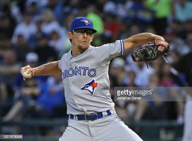 Tyler Clippard of the Toronto Blue Jays pitches in the 6th inning against the Chicago White Sox at Guaranteed Rate Field on July 28 2018 in Chicago...