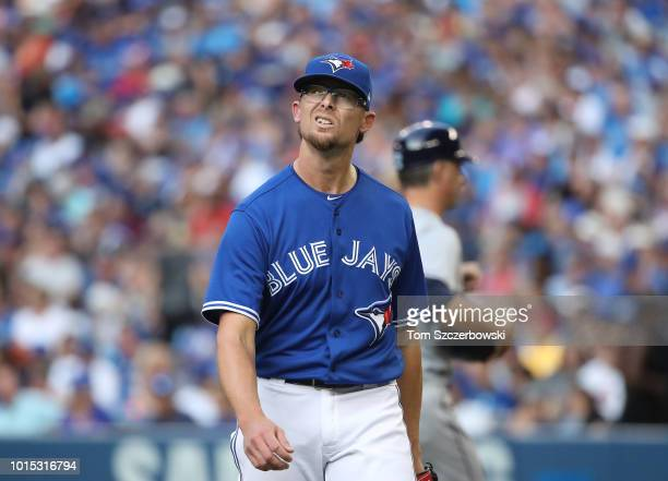 Tyler Clippard of the Toronto Blue Jays reacts after getting the last out of the top of the eighth inning during MLB game action against the Tampa...