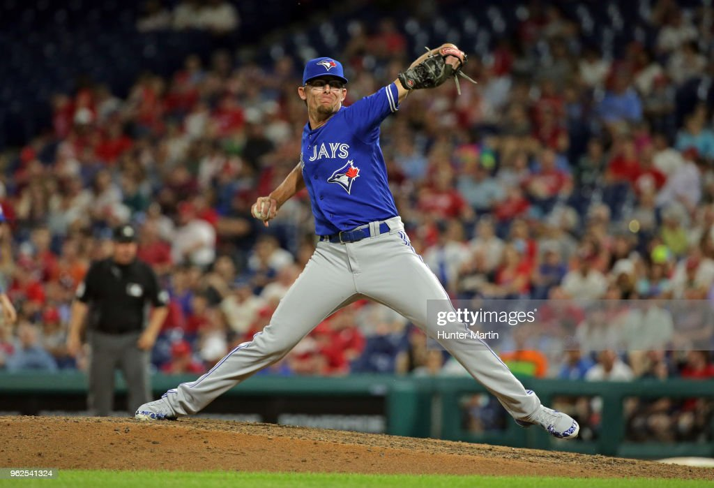 Tyler Clippard #36 of the Toronto Blue Jays throws a pitch in the eighth inning during a game against the Philadelphia Phillies at Citizens Bank Park on May 25, 2018 in Philadelphia, Pennsylvania. The Blue Jays won 6-5.
