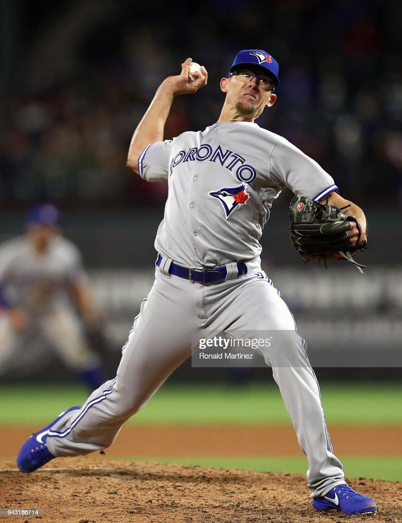 Tyler Clippard #36 of the Toronto Blue Jays throws against the Texas Rangers at Globe Life Park in Arlington on April 7, 2018 in Arlington, Texas.