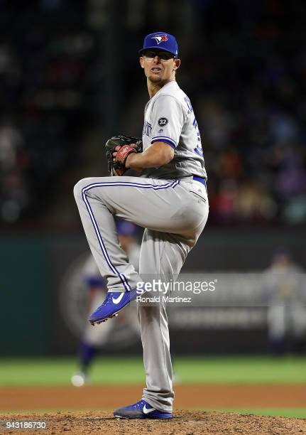 Tyler Clippard of the Toronto Blue Jays throws against the Texas Rangers at Globe Life Park in Arlington on April 7 2018 in Arlington Texas
