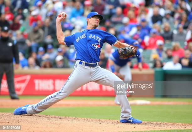 Tyler Clippard of the Toronto Blue Jays throws in the sixth inning against the Texas Rangers at Globe Life Park in Arlington on April 8 2018 in...