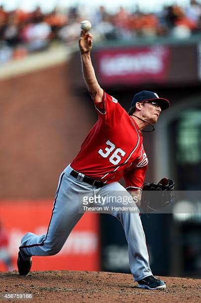 Tyler Clippard of the Washington Nationals pitches in the eighth inning against the San Francisco Giants during Game Three of the National League...