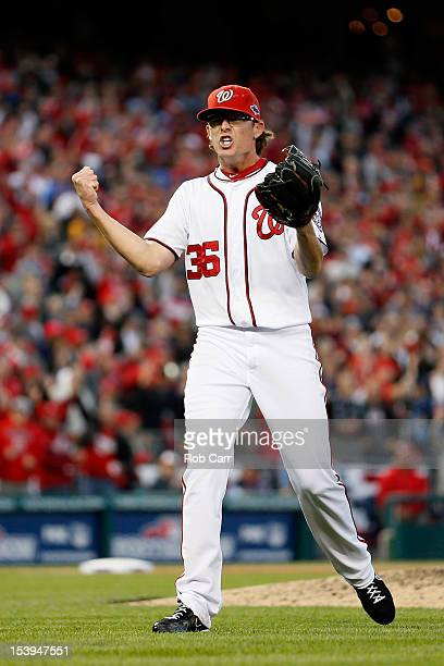Tyler Clippard of the Washington Nationals reacts after he struck out the side to end the top of the eighth inning against the St Louis Cardinals...