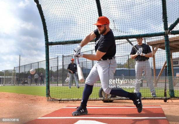 Tyler Collins of the Detroit Tigers bats during Spring Training workouts at the TigerTown complex on February 15 2017 in Lakeland Florida