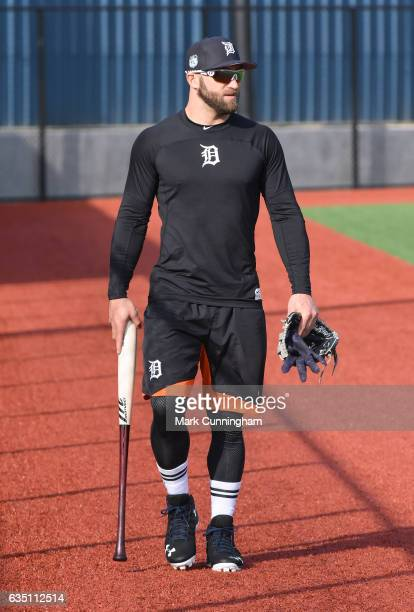 Tyler Collins of the Detroit Tigers looks on during Spring Training workouts at the TigerTown complex on February 13 2017 in Lakeland Florida
