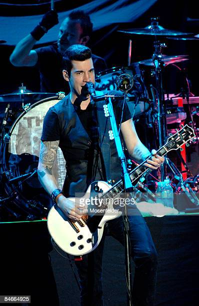 Tyler Connolly of Theory of a Deadman performs in support of the bands' Scars Souvenirs release at the Reno Events Center on February 4 2009 in...