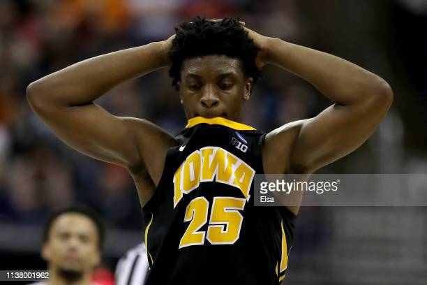 Tyler Cook of the Iowa Hawkeyes reacts during their 83-77 loss to the Tennessee Volunteers during their game in the Second Round of the NCAA...
