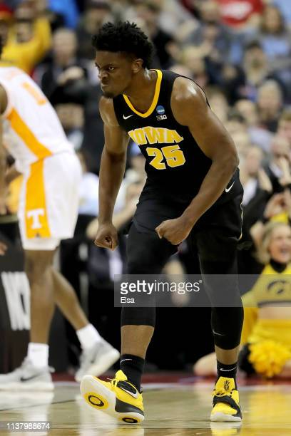 Tyler Cook of the Iowa Hawkeyes reacts to a play against the Tennessee Volunteers during their game in the Second Round of the NCAA Basketball...