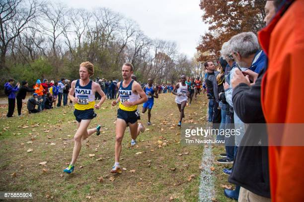 Tyler Dan and Matthew Baxter both of Northern Arizona University take an early lead during the Division I Men's Cross Country Championship held at EP...