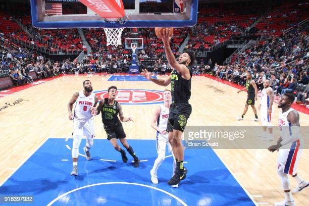 Tyler Dorsey of the Atlanta Hawks drives to the basket during the game against the Detroit Pistons on February 14 2018 at Little Caesars Arena in...
