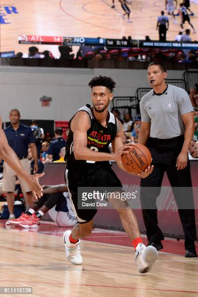 Tyler Dorsey of the Atlanta Hawks handles the ball against the New Orleans Pelicans on July 9 2017 at the Cox Pavilion in Las Vegas Nevada NOTE TO...
