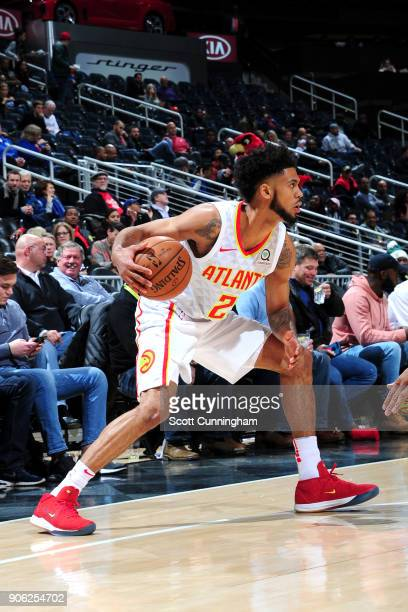 Tyler Dorsey of the Atlanta Hawks handles the ball against the New Orleans Pelicans on January 17 2018 at Philips Arena in Atlanta Georgia NOTE TO...