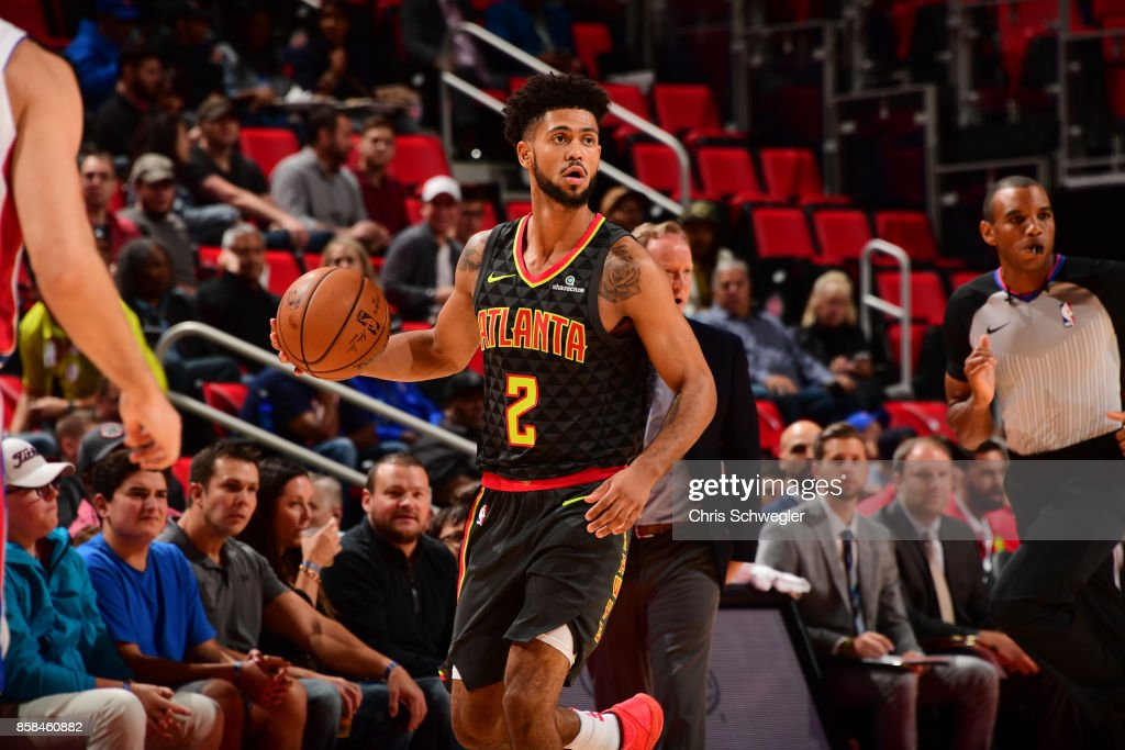 Tyler Dorsey #2 of the Atlanta Hawks handles the ball against the Detroit Pistons on October 6, 2017 at Little Caesars Arena in Detroit, Michigan.