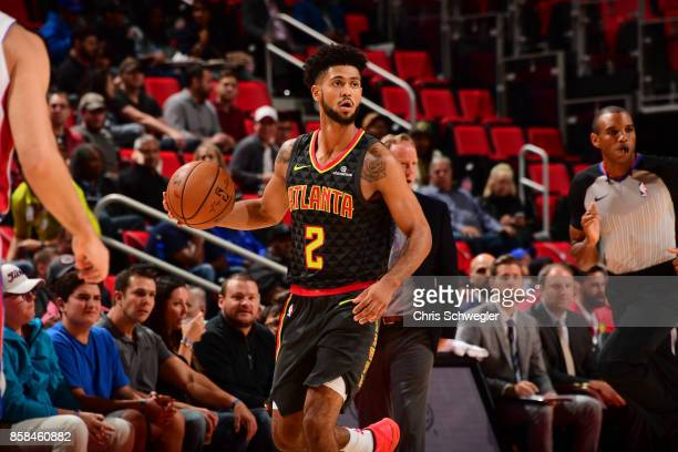 Tyler Dorsey of the Atlanta Hawks handles the ball against the Detroit Pistons on October 6 2017 at Little Caesars Arena in Detroit Michigan NOTE TO...