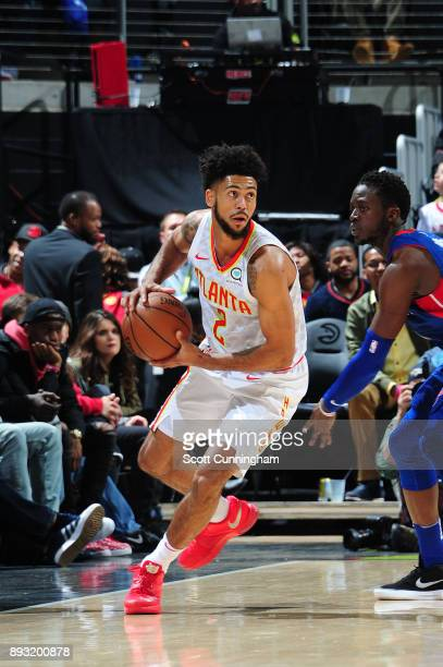 Tyler Dorsey of the Atlanta Hawks handles the ball against the Detroit Pistons on December 14 2017 at Philips Arena in Atlanta Georgia NOTE TO USER...