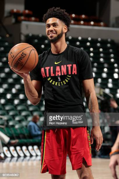Tyler Dorsey of the Atlanta Hawks handles the ball before the game against the Indiana Pacers on February 23 2018 at Bankers Life Fieldhouse in...