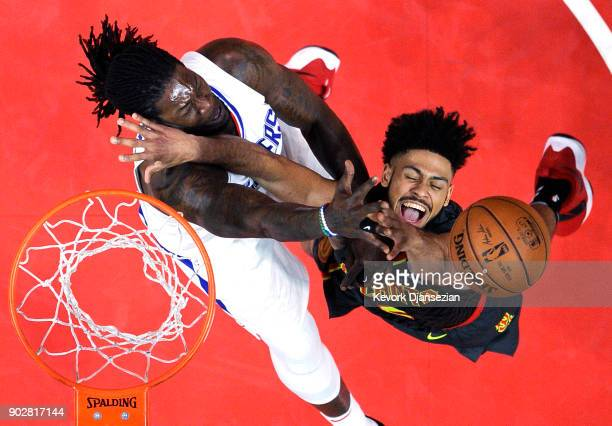 Tyler Dorsey of the Atlanta Hawks has a layup blocked by Montrezl Harrell of the Los Angeles Clippers during the second half of basketball game at...